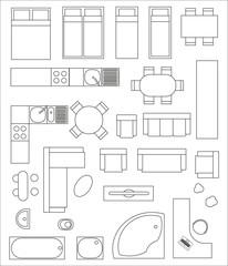 Samlung von Draufsicht Interieur. Verschiedene Varianten von Möbeln für Wohnungen