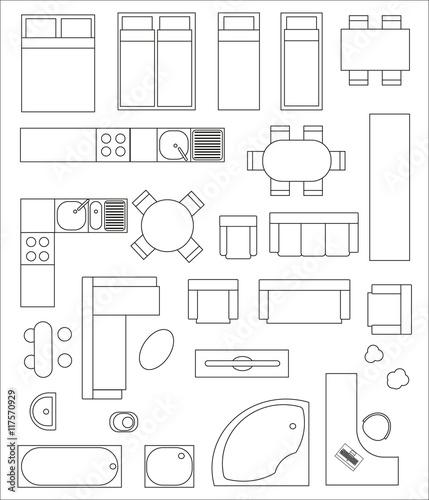 Samlung von draufsicht interieur verschiedene varianten for Dibujos de muebles para planos arquitectonicos