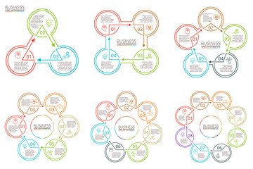 Thin line flat elements for infographic.