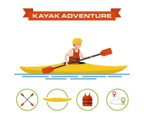 Vector illustration of a cartoon kayaker.