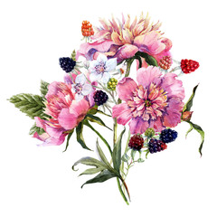 Watercolor floral bouquet