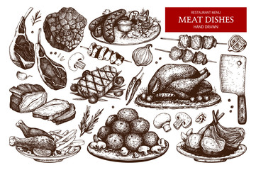 Vector collection of hand drawn meat illustration. Restaurant or butchery design elements. Vintage food sketch set.