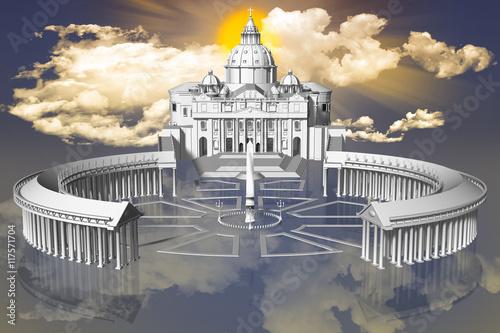 Wall mural Piazza San Pietro in Città del Vaticano sospesa fra terra e cielo con sullo sfondo il sole fra le nuvole..
