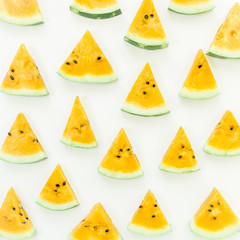 Slices yellow watermelon on white background