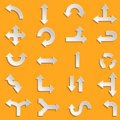 White paper arrows Set Design elements. Vector illustration.