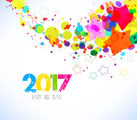 Happy new year 2017. Abstract colorful background