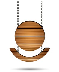 wooden board on the chains