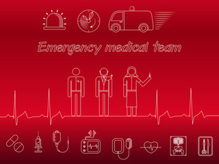 Emergency medical team icons on red background
