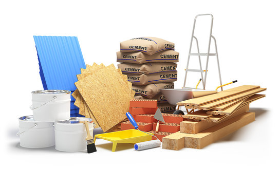 Construction materials isolated on white. 3D rendering