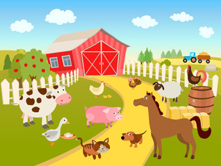 cartoon farm scene illustration with domestic birds, animals, farmhouse, tractor