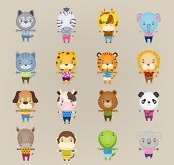 set of cartoon cute animal standing, wearing t-shirts and trouse