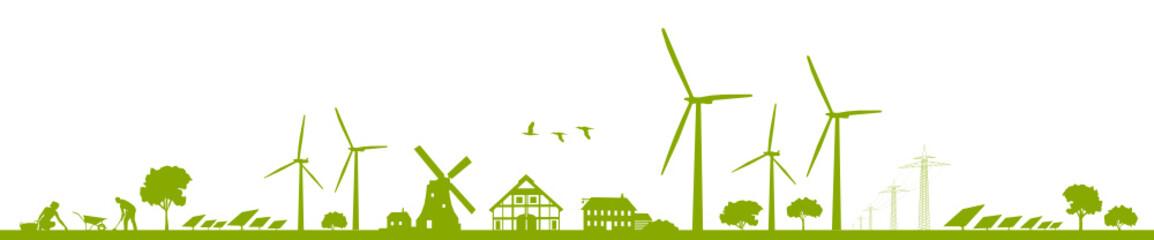 Silhouette Erneuerbare Energien