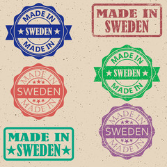 Made in Sweden set of stamps vector illustration