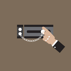 Hand With Security Door Chain Vector Illustration
