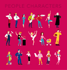 Vector flat profession characters. Human profession icon. Friendly, happy people portrait.  Business team, working group, crew people set. Cartoon style.