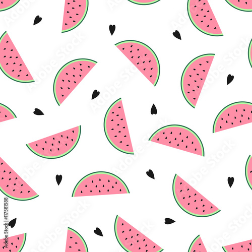 Seamless Background With Pink Watermelon Slices Cute Fruit Pattern