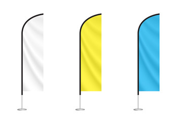 white, yellow and blue feather flag mock ups. vector advertising flags