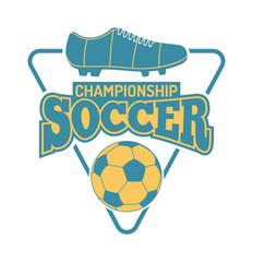 European football, soccer label, emblem and design championship elements. Vector occer logo football tournament icon symbol. Soccer logo team emblem badge sport competition.