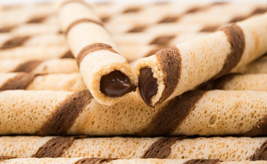 wafer rolls with chocolate