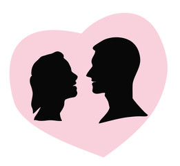 silhouette of a man and a woman looking at each other in the background of the heart. vector illustration