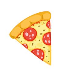 Ein Stück Pizza mit Salami - freigestellt Vektor