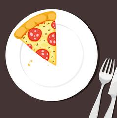 Pizzastück auf einem Teller mit Besteck - Vektor