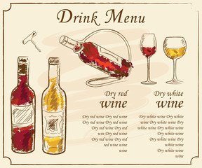 Drink menu elements. Restaurant blackboard for drawing. Hand drawn drink menu vector illustration. wine list, drink menu board, glass of the white wine and red wine
