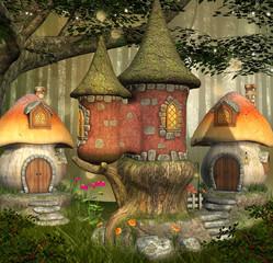 Wall Mural - Fantasy elves village