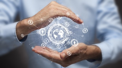 Businessman holding in hand a global connection,communications concept