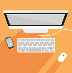 Arbeitsplatz mit Bildschirm, Tastatur, Maus und Handy von oben - Vektor