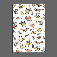 Greeting card with autumn pattern. Vector illustration. Cute animals wear scarves. Hand drawn oak and maple leaves, berries, mushrooms. Funny childish design