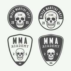 Set of vintage mixed martial arts or fighting club logos, emblem