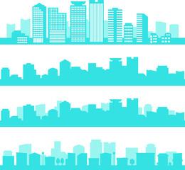 都市のシルエットイラストのセット