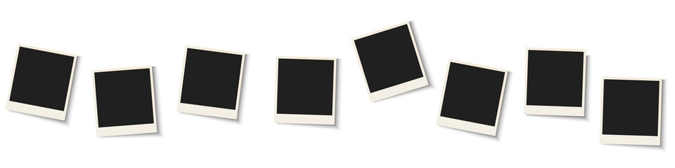 Collection of blank photo frames isolated on white background