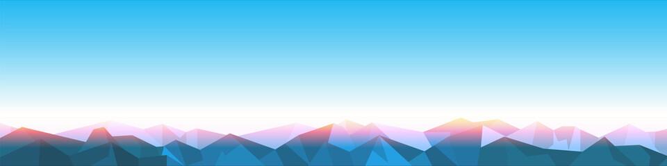 Horizontal Panorama of stylized paper Mountains on Sunrise