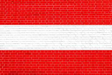 Flag of Austria on brick wall texture background