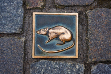Metal rat - symbol of city Hameln in Germany.