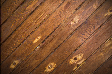 Horizontal photo of vintage wood background. Grunge wooden weathered oak or pine textured planks of aged brown color.