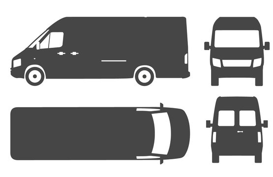 Commercial van bus silhouette vector icon