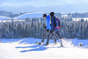 idyllische Schneeschuhwanderung im Allgäu