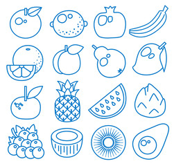 Fruits. Set of line icons. Vector illustration. Apple, lemon, pomegranate, banana, orange, peach, pear, mango, mandarin, pineapple, watermelon, pitaya, grape, coconut, kiwi, avocado