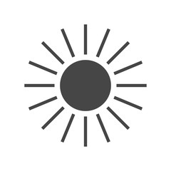 Sun icon. Light sign with sunbeams. Black design element, isolated on white background. Symbol of sunrise, heat, sunny and sunset, sunlight. Flat modern style for weather forecast. Vector Illustration