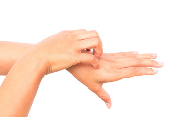 Woman hand scratching on white background for healthy concept