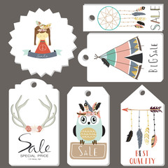 Light gold pink tag sale with feather,indian tent,owl and girl i