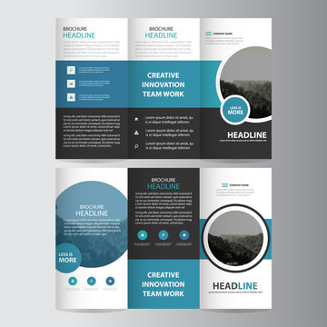Blue circle business trifold Leaflet Brochure Flyer report template vector minimal flat design set, abstract three fold presentation layout templates a4 size