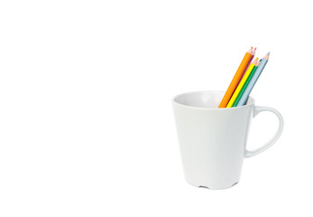 Pencil color in empty mug, happy and relax concep
