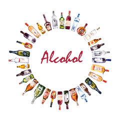 Circle frame from different bottles. Watercolor hand drawn vector illustration