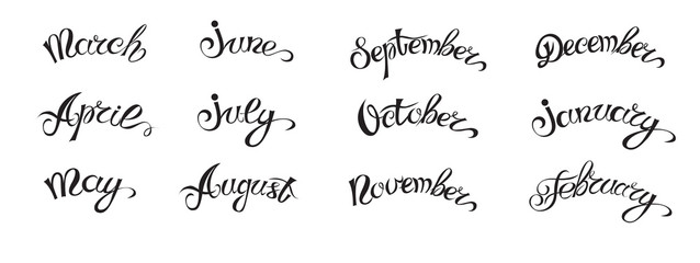 Set hand-drawn lettering with months names of year, black on white