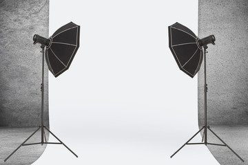 Studio Lights on Concrete Background
