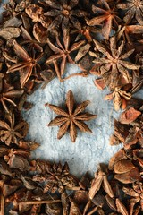 Close up of star anise food background